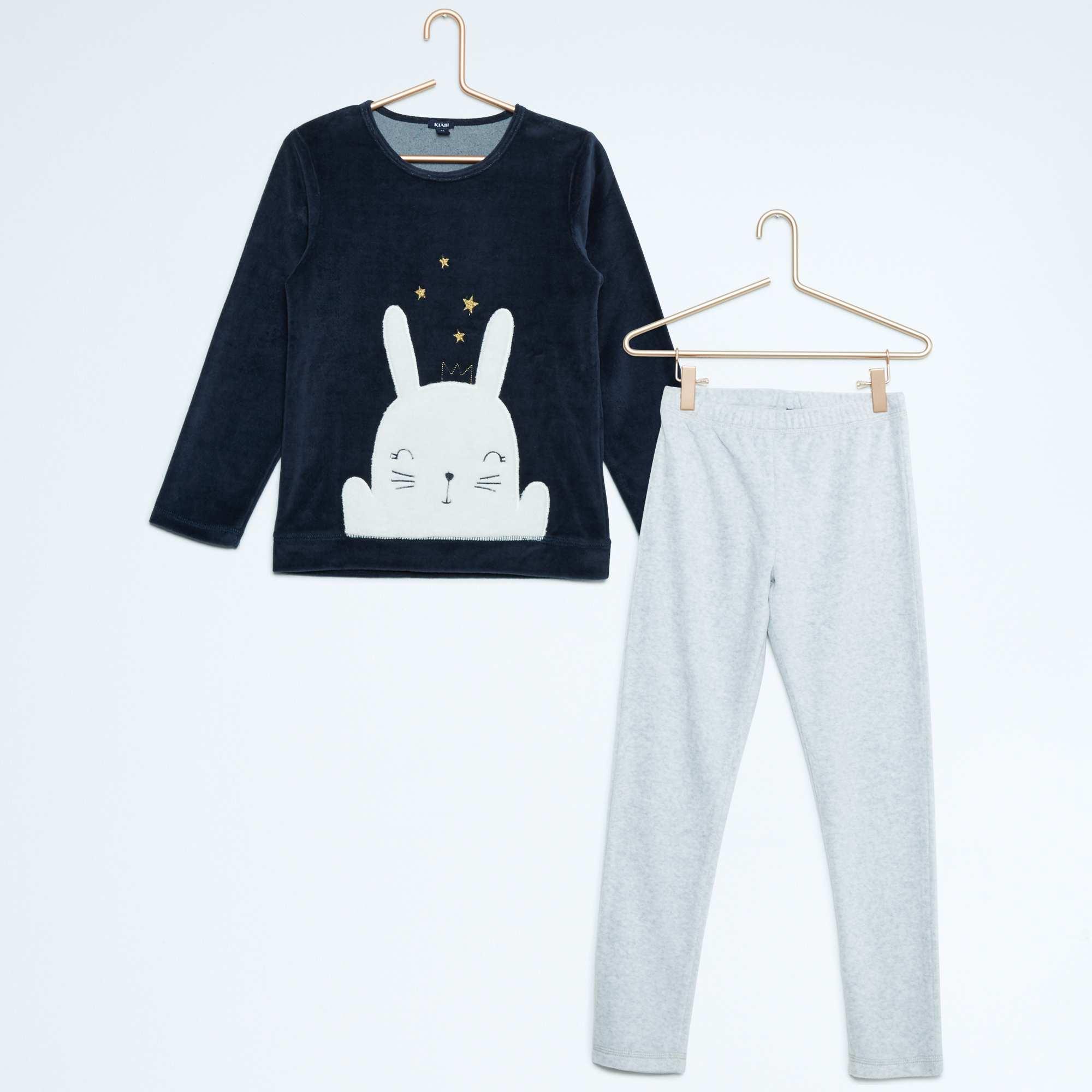 pyjama long en velours fille marine kiabi 6 50. Black Bedroom Furniture Sets. Home Design Ideas