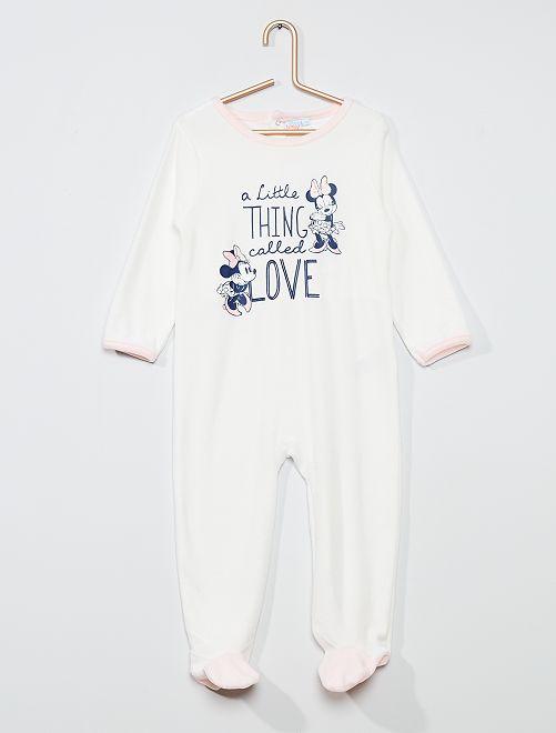 Pyjama long en velours 'Minnie Mouse' de 'Disney'                             écru