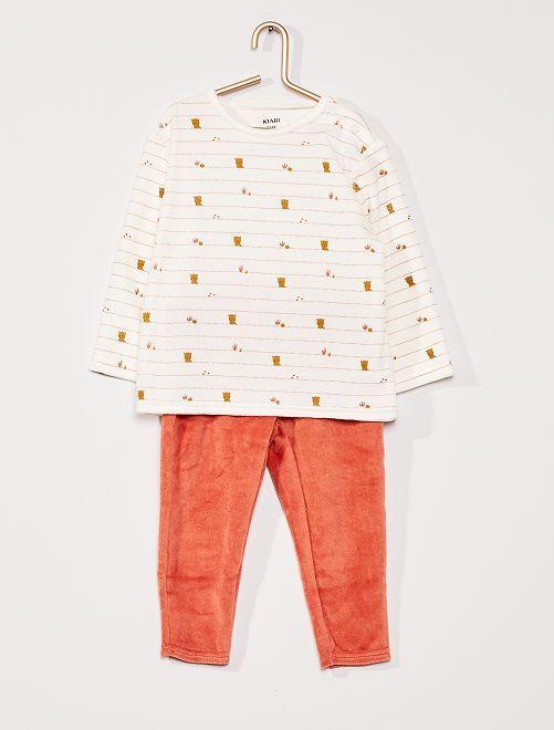 Pyjama long en velours                                                                 rayures
