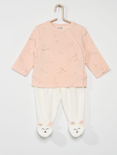 Pyjama long en velours                                         rose