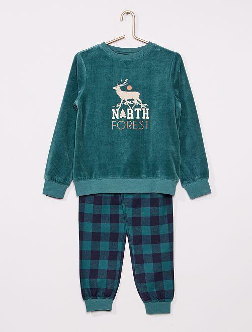 Pyjama long en velours                                         VERT