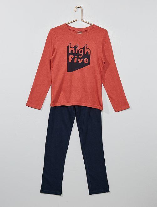 Pyjama long fantaisie                                                                                         bleu/rouge brique