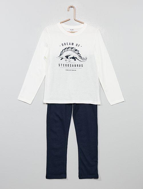 Pyjama long fantaisie                                                                                         écru/marine