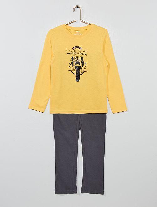 Pyjama long fantaisie                                                                                         gris/jaune