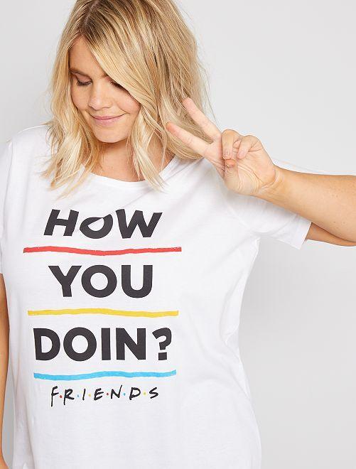 Pyjama long 'Friends'                             blanc/noir