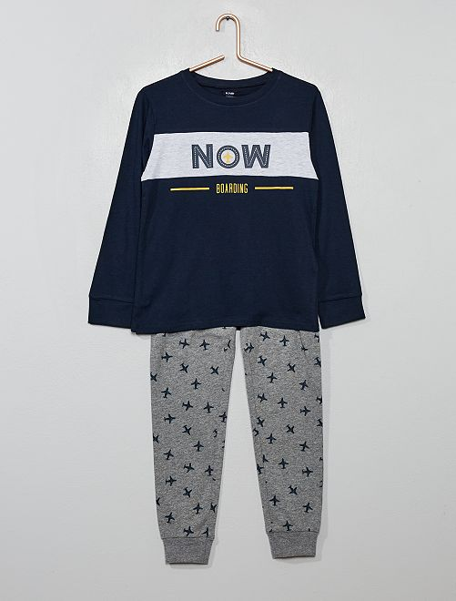 Pyjama long imprimé 'avion'                                         bleu