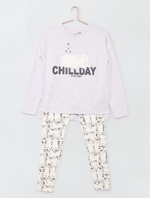 Pyjama long imprimé                                                     BLANC