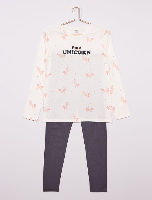 Pyjama long imprimé                                         blanc/gris
