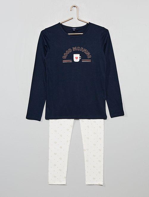 Pyjama long imprimé                     bleu marine
