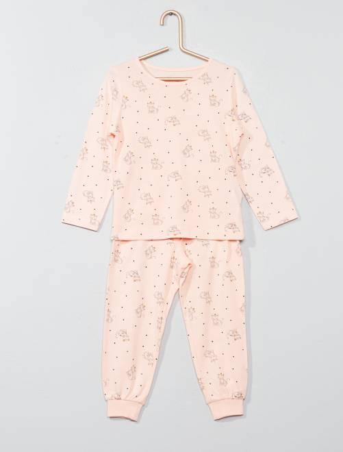 Pyjama long imprimé 'chat'                                                                                         rose Fille