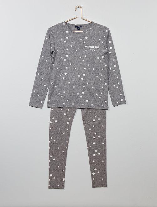 Pyjama long imprimé                                                     gris chiné foncé