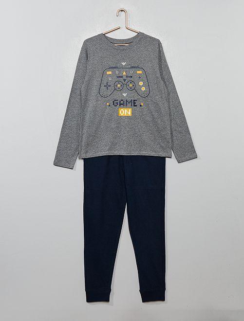 Pyjama long imprimé                                         gris/marine