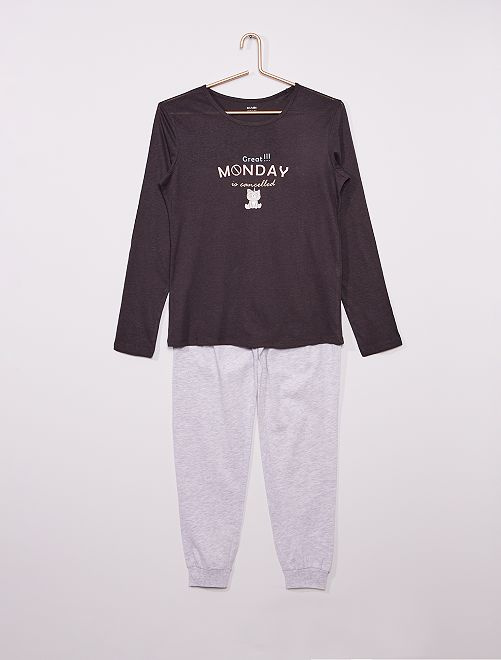 Pyjama long imprimé                                         gris/noir