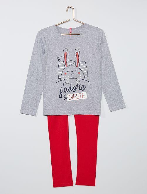 Pyjama long imprimé                             gris/rouge