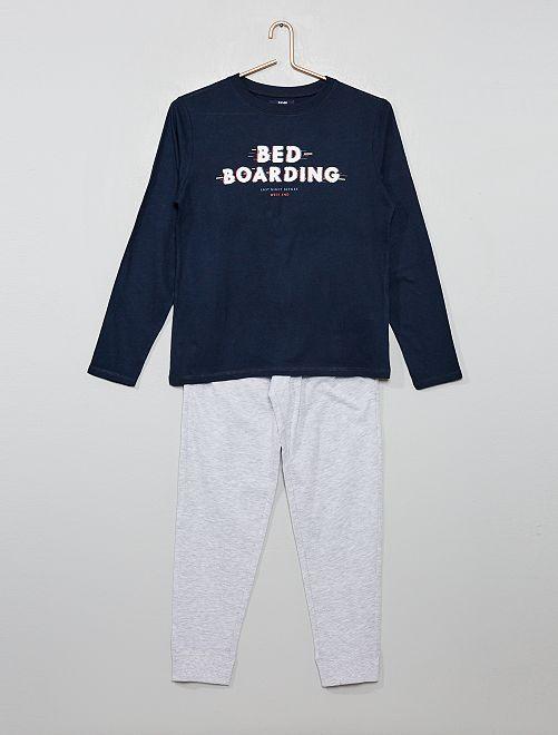 Pyjama long imprimé                                         marine/gris