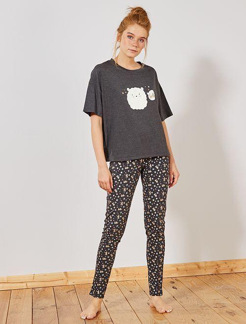 Pyjama long imprimé 'pois'                                 gris foncé