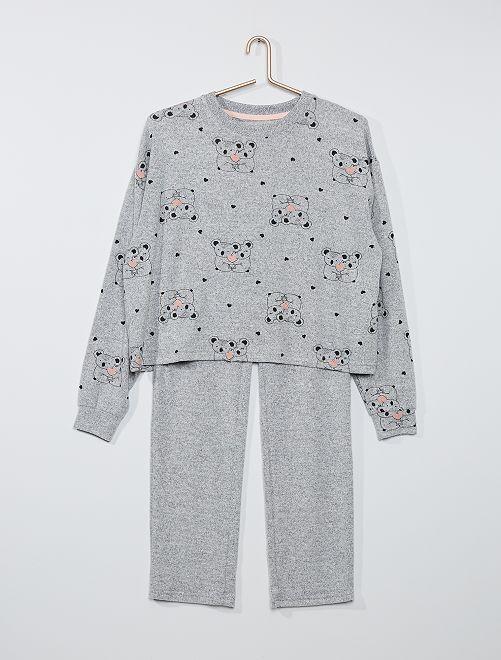 Pyjama long 'koala'                             gris/rose