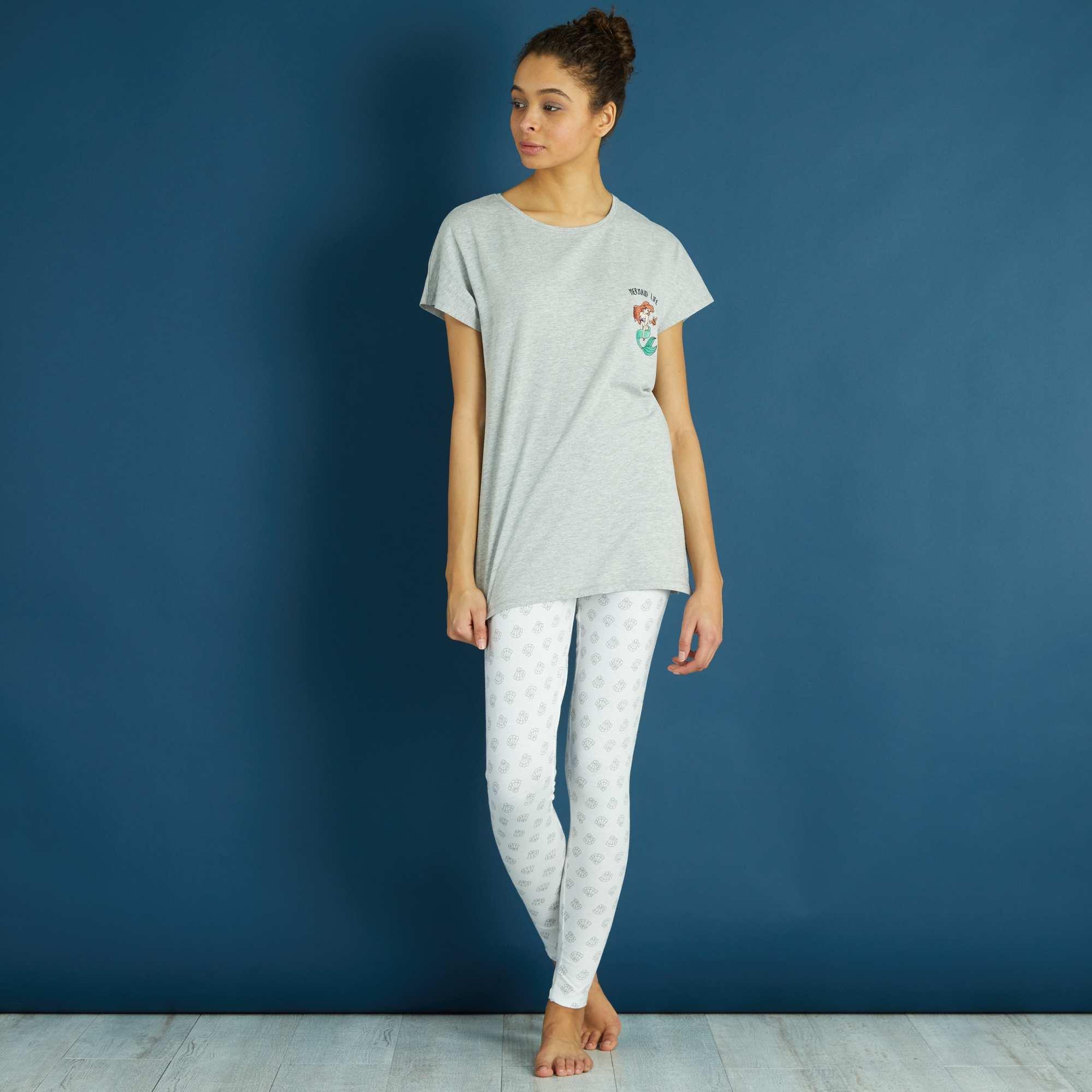 Couleur : gris/blanc, gris/blanc imprimé, ,, - Taille : S, L, XL,M,XXLTous fans de 'La Petite Sirène' ! - Pyjama long 'Disney' - Haut forme T-shirt en pur