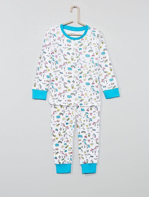 Pyjama long 'licorne'                             blanc