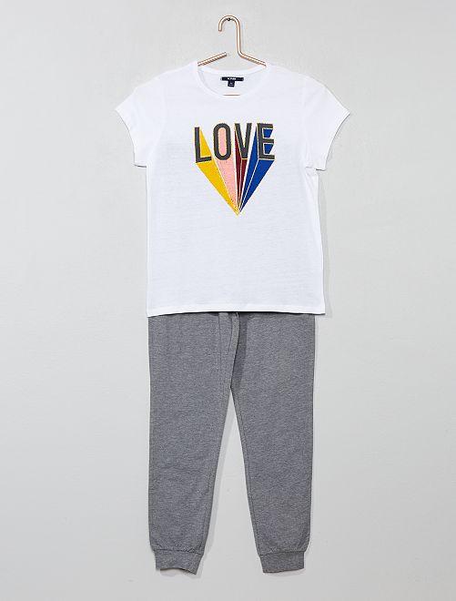 Pyjama long 'licorne'                                         gris/blanc Fille adolescente
