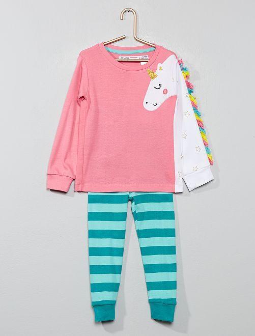Pyjama long 'licorne'                             rose/bleu Fille