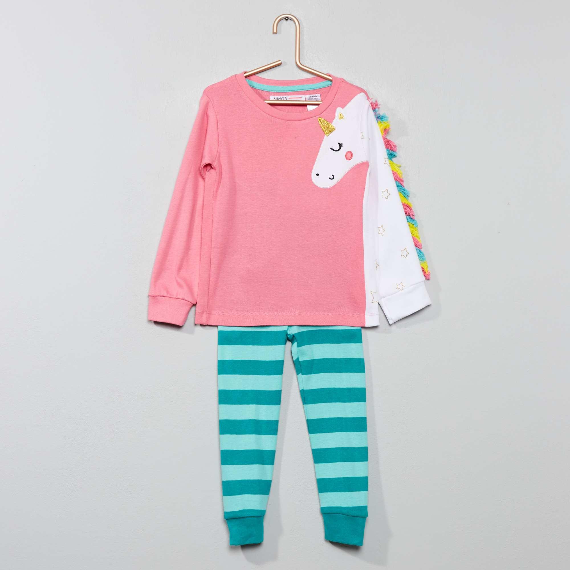 adf167af6d6cb Pyjama long 'licorne' Fille - rose/bleu - Kiabi - 14,00€