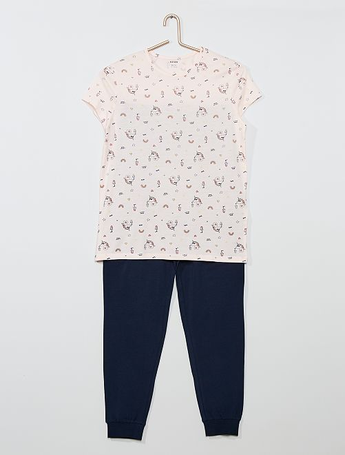 Pyjama long 'licorne'                                         rose/marine