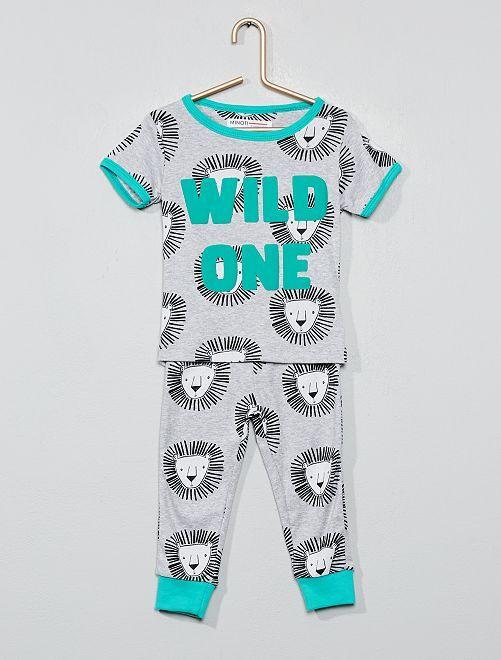 Pyjama long 'lion'                             gris/vert Bébé garçon