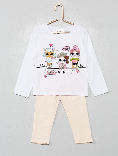 Pyjama long 'L.O.L Surprise !'                             blanc/rose