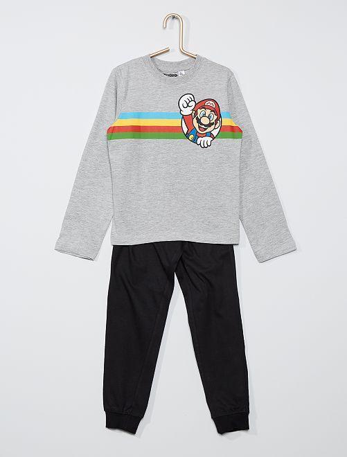 Pyjama long 'Mario'                             gris/noir