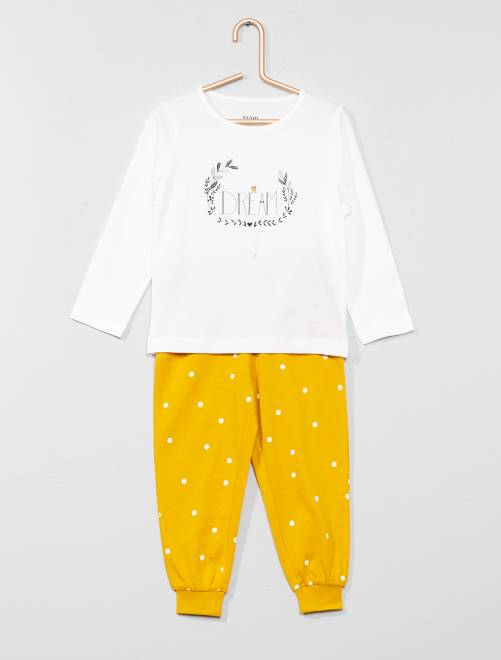 Pyjama long message 'love'                                                                             jaune