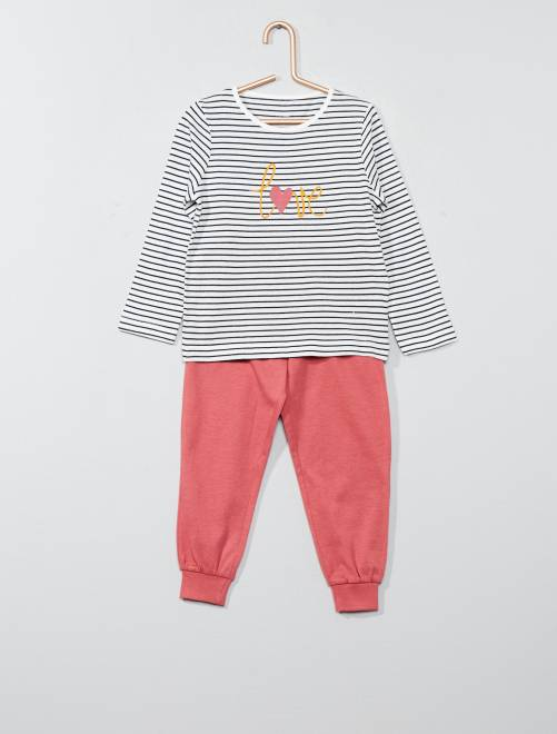 Pyjama long message 'love'                                                                                         rouge/marinière Fille