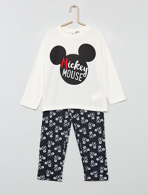 Pyjama long 'Mickey'                                         écru/noir