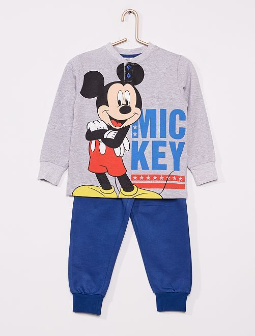 Pyjama long 'Mickey'                                         gris/bleu