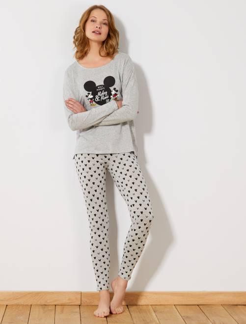 Pyjama long 'Mickey & Minnie'                                                                 gris Lingerie du s au xxl