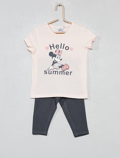 Pyjama long 'Minnie'                             rose/gris Fille