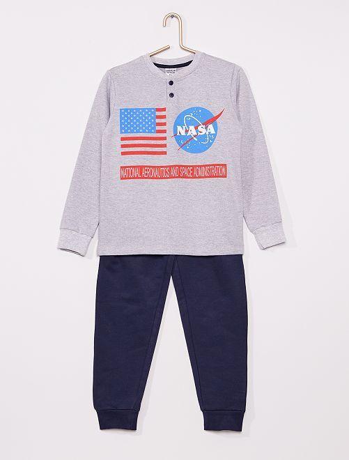 Pyjama long 'Nasa'                                         gris/marine