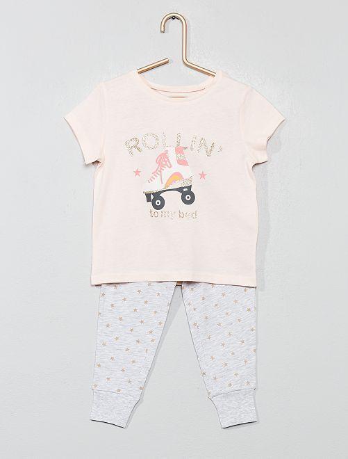 Pyjama long pailleté                                         rose/gris Fille
