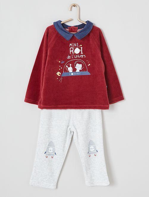 Pyjama long 'Petit Béguin'                             rouge/gris