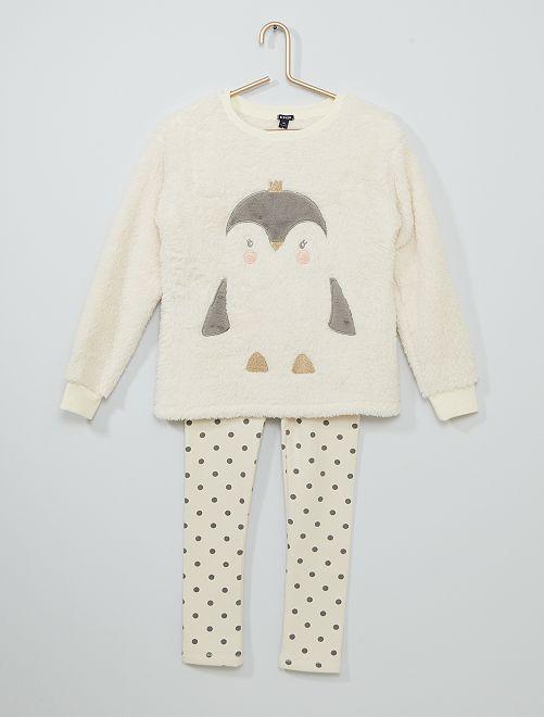 Pyjama long 'Pingouin'                                         blanc/gris