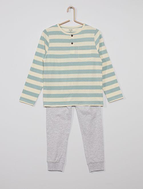 Pyjama long rayé                                         bleu/gris