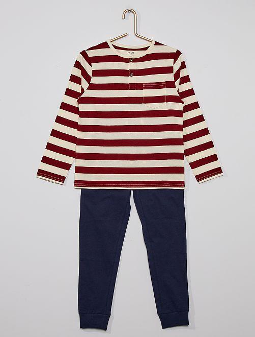 Pyjama long rayé                                         bordeaux/bleu marine