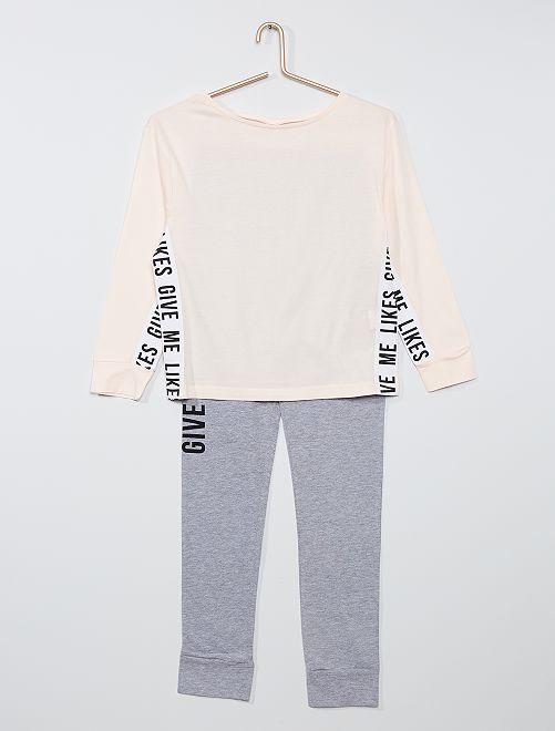 Pyjama long                                         rose/gris