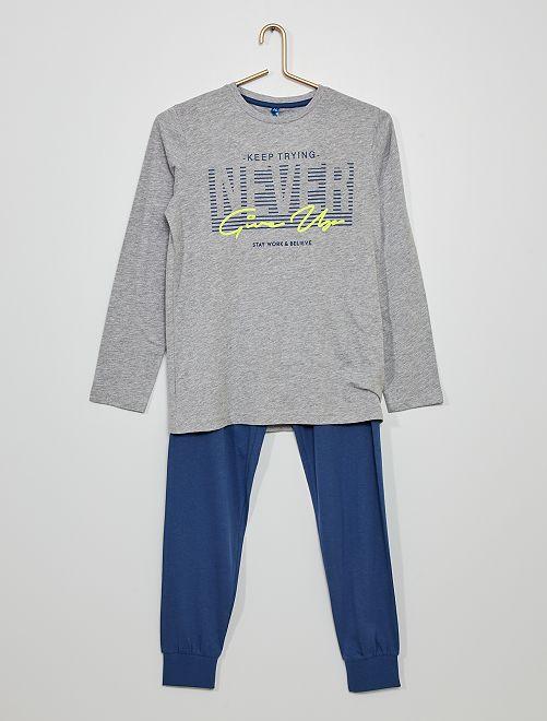 Pyjama long 'skate'                                         gris/bleu