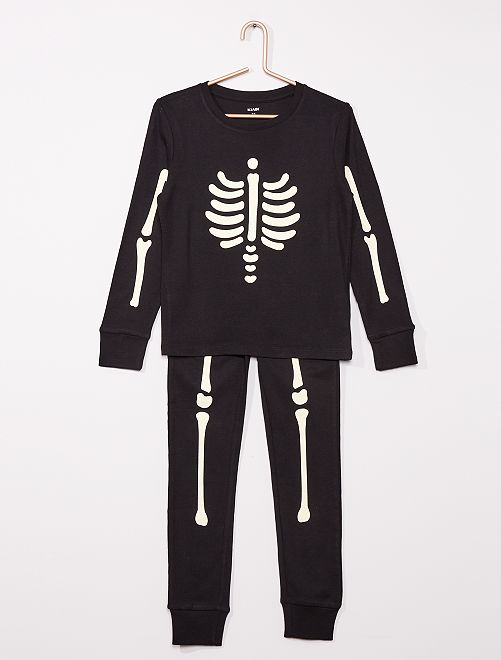 Pyjama long 'Squelette' Halloween                             NOIR