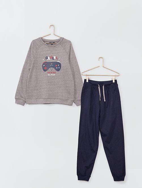 Pyjama long sweat en molleton                             gris/marine