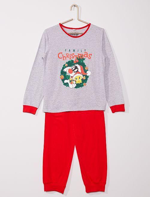 Pyjama long 'Titi et Grosminet'                             gris/rouge