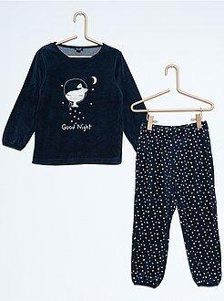 Pyjama long velours imprimé 'Good Night'