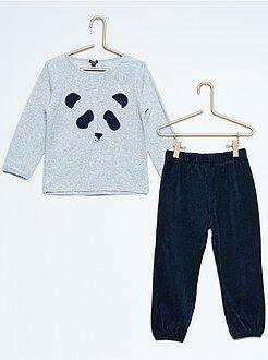 Pyjama long velours imprimé panda
