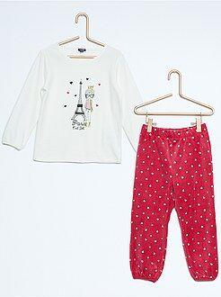 Pyjama long velours imprimé 'Paris'
